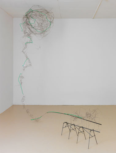 """twisted road ,2012-13 stainless steel wire, steel, plastic tube, fishing pole 112 x 112 x 36"""""""
