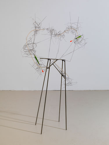 """apparatus #1 ,2013 stainless steel wire, steel, plastic tube, bobbers 54 x 30 x 11"""""""