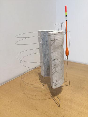 "singular ,2015 stainless steel wire, hydrostone, bobber 16 1/2 x 11 x 10"""