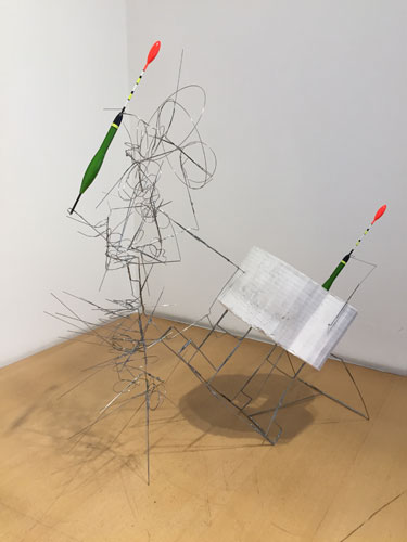 """double ,2015 stainless steel wire, hydrostone, bobbers 22 1/4 x 19 x 8"""""""