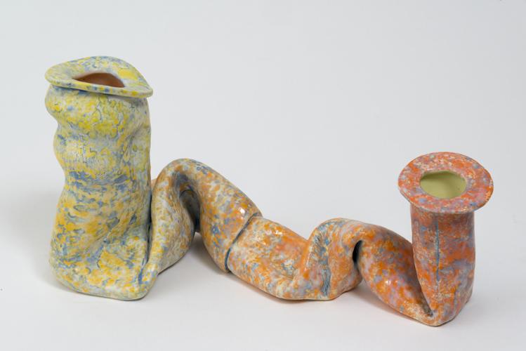 shift into orange , 2013 glazed ceramic 7 x 14 x 10 inches