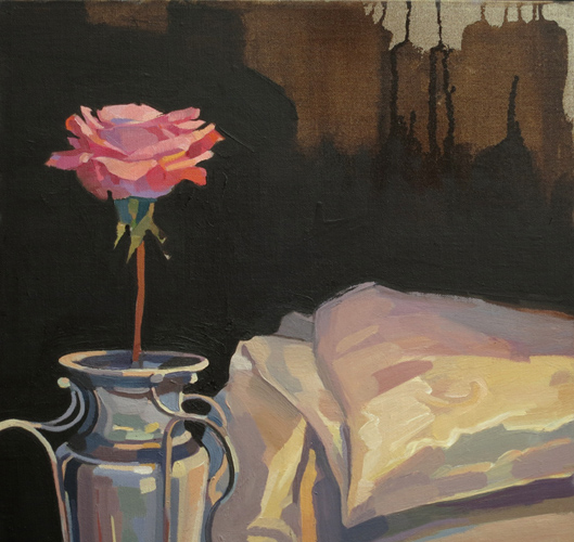 jealous rose , 2014 oil on linen 15 3/4 x 15 3/4 inches
