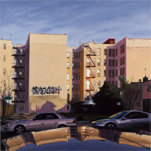 "midwood , 2011 oil on birch panel  20"" x 20"""