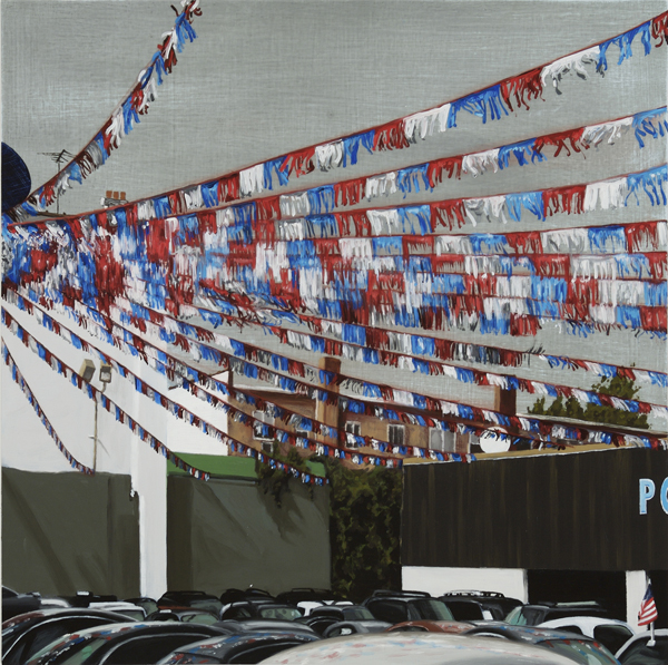 "Auto Lot  , 2008 oil on wood panel 20 "" x 20"""