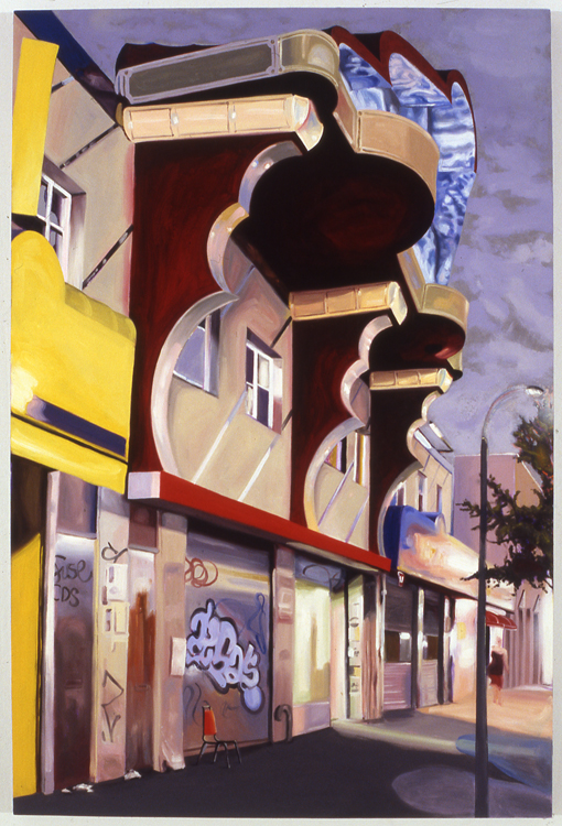 "Coney Island Avenue Sign Shop , 2007 oil on wood panel 45"" x 30"""