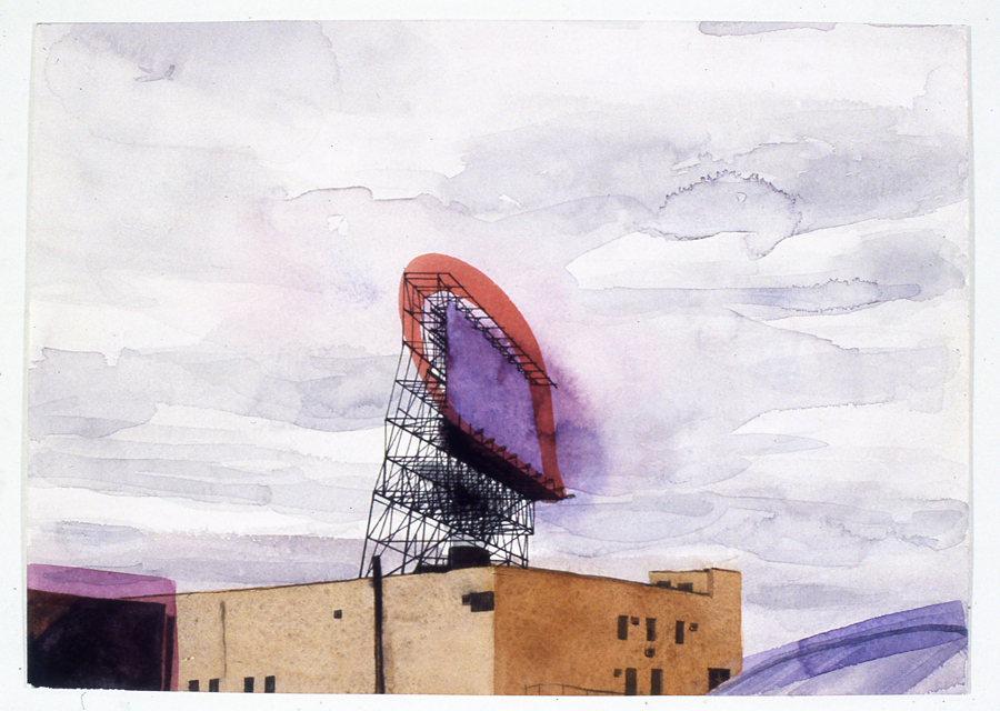 "Billboard , 2007 watercolor on paper 8 1/2"" x 11 3/4"""