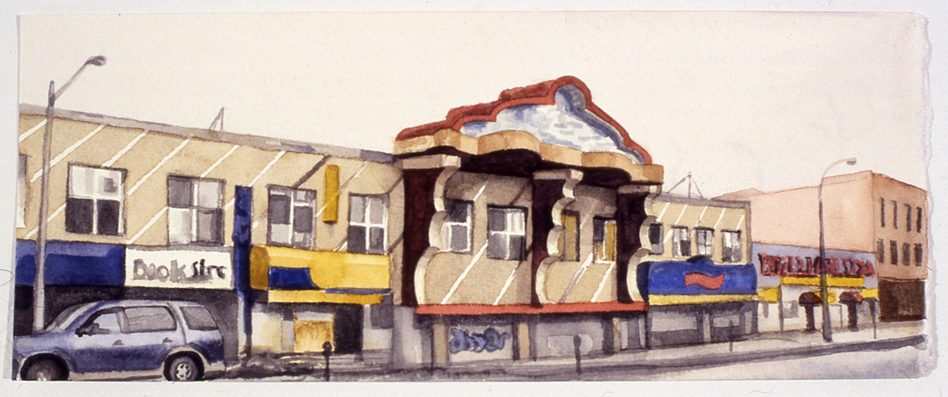 "Coney Island Avenue (Brooklyn) , 2007 watercolor on paper 4"" x 10"""