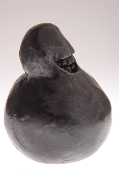 """creepy ball man, 2009 cast bronze filled with lead 3 3/4 x 3 x 3 """""""