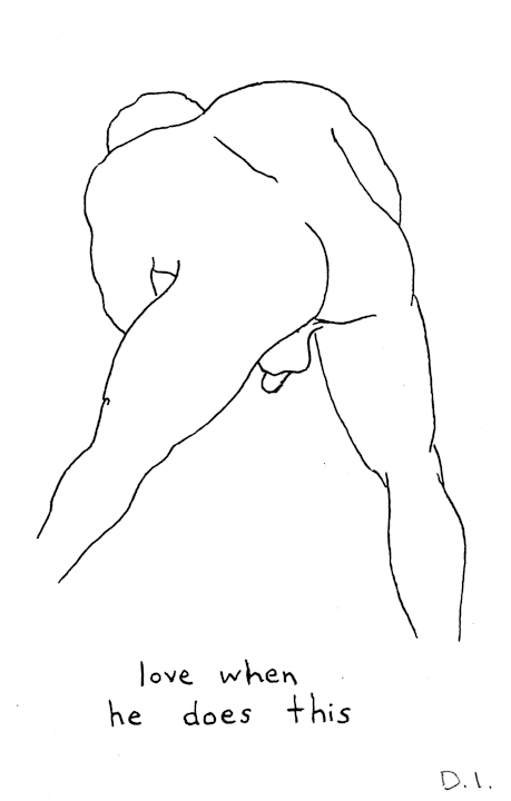 """bending over, 2009 ink on paper 5 5/8 x 3 3/4 """""""