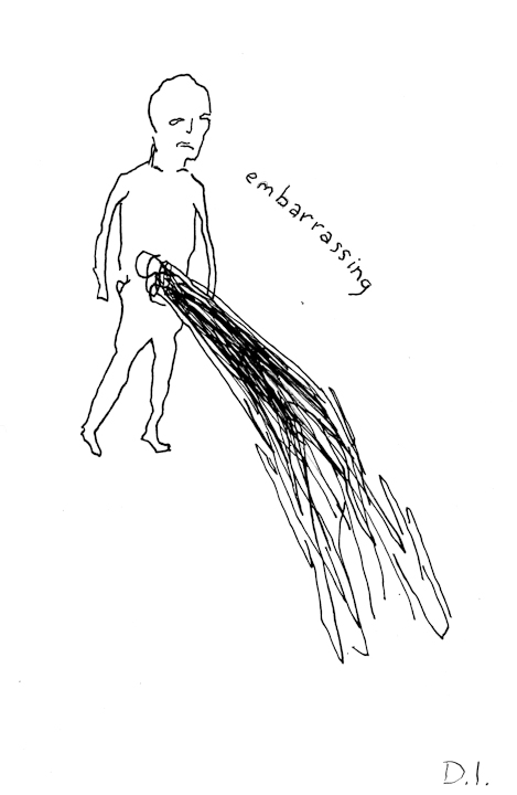 """embarrassing, 2009 ink on paper 5 5/8 x 3 3/4 """""""