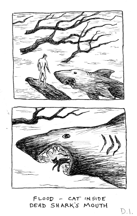"dead shark, 2009 ink on paper 5 5/8 x 3 3/4 """