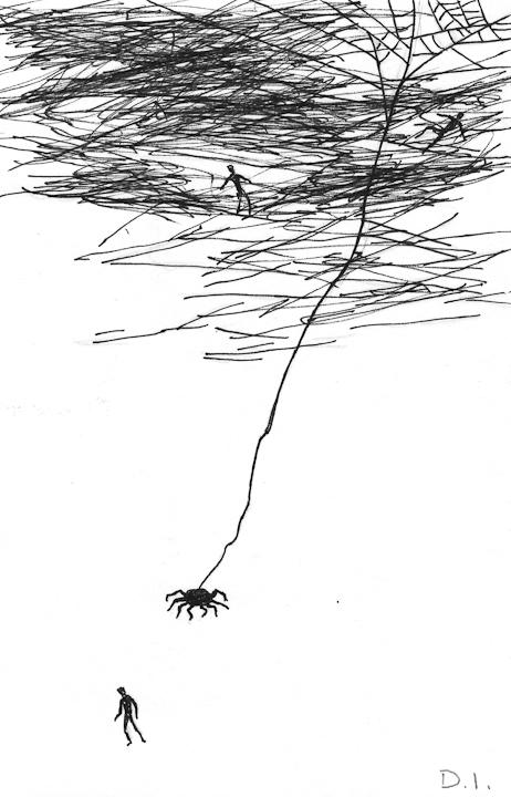 "night stroll, 2009 ink on paper 5 5/8 x 3 3/4 """