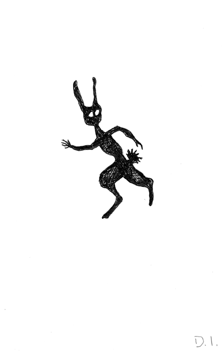 """shadow rabbit, 2009 ink on paper 5 5/8 x 3 3/4 """""""