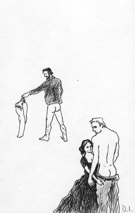 """trousers, 2009 ink on paper 5 5/8 x 3 3/4 """""""