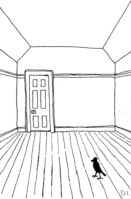 """bird in room, 2009 ink on paper 5 5/8 x 3 3/4 """""""