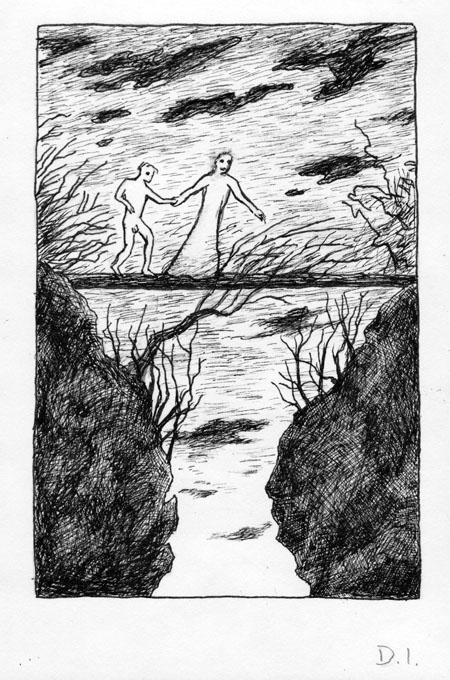 "bridge, 2009 ink on paper 5 5/8 x 3 3/4 """