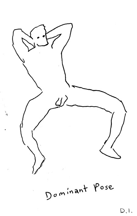 """dominant pose, 2009 ink on paper 5 5/8 x 3 3/4 """""""