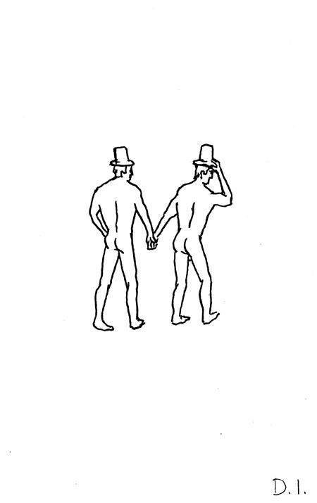 "hatted men, 2009 ink on paper 5 5/8 x 3 3/4 """