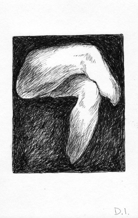 """jasper's legs, 2009 ink on paper 5 5/8 x 3 3/4 """""""