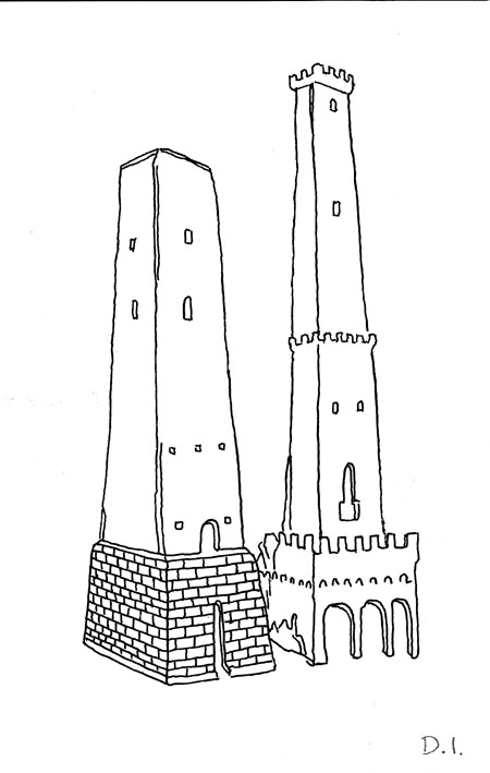 """medievel towers, 2009 ink on paper 5 5/8 x 3 3/4 """""""