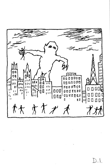 """monster 202, 2009 ink on paper 5 5/8 x 3 3/4 """""""