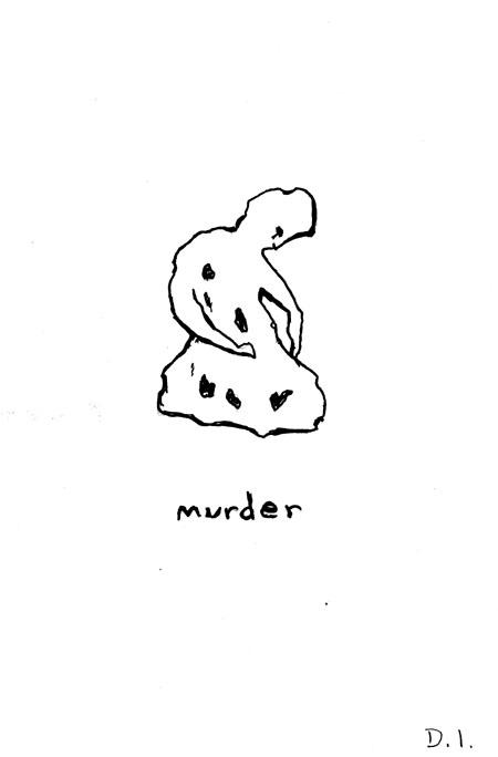 """murder, 2009 ink on paper 5 5/8 x 3 3/4 """""""