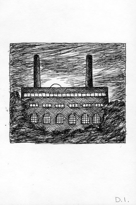"""moon and power station, 2009 ink on paper 5 5/8 x 3 3/4 """""""