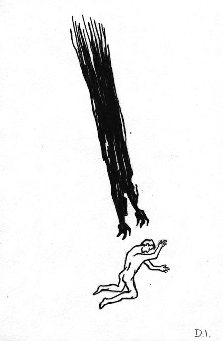 "night, 2009 ink on paper 5 5/8 x 3 3/4 """