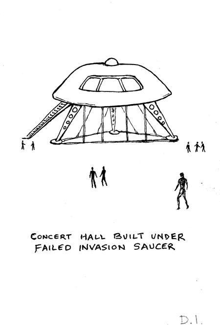 "saucer concert hall, 2009 ink on paper 5 5/8 x 3 3/4 """