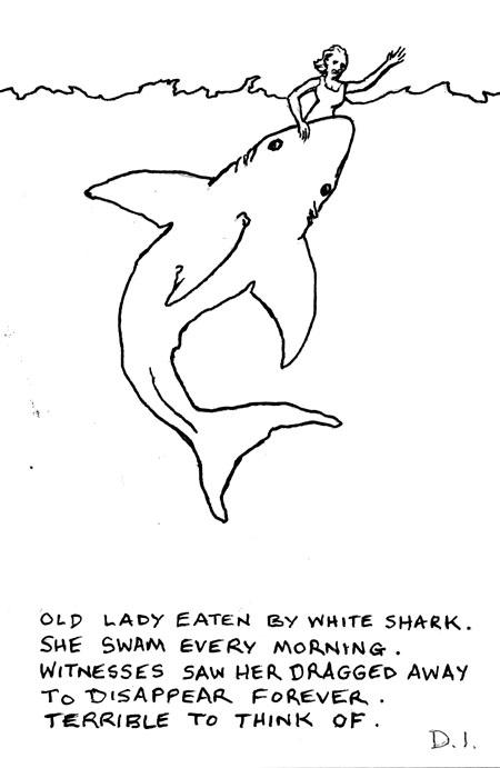"shark eats, 2009 ink on paper 5 5/8 x 3 3/4 """