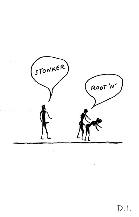 """stonker, 2009 ink on paper 5 5/8 x 3 3/4 """""""