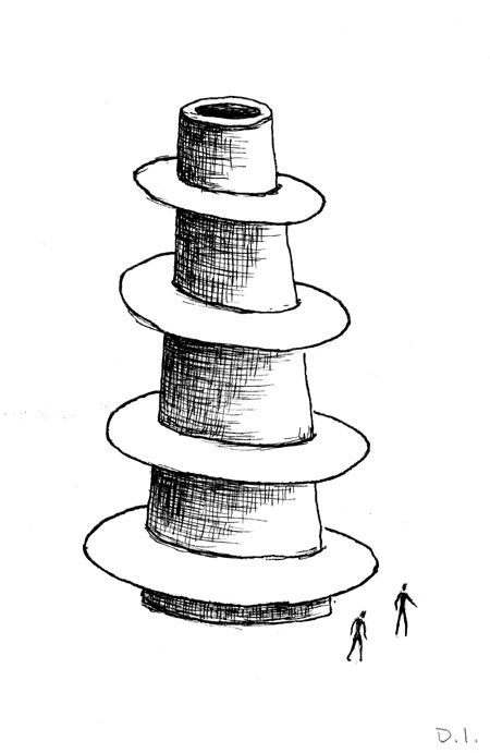 """tower, 2009 ink on paper 5 5/8 x 3 3/4 """""""
