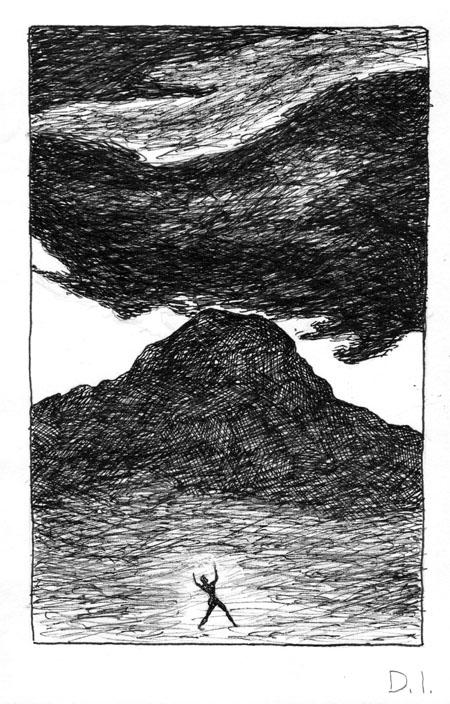 """vesuvius, 2009 ink on paper 5 5/8 x 3 3/4 """""""