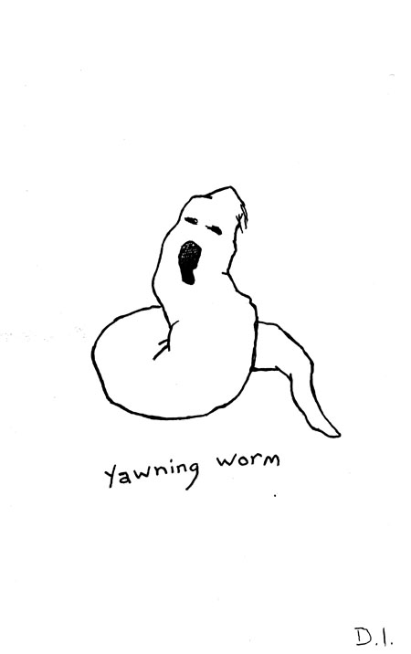 """yawning worm, 2009 ink on paper 5 5/8 x 3 3/4 """""""