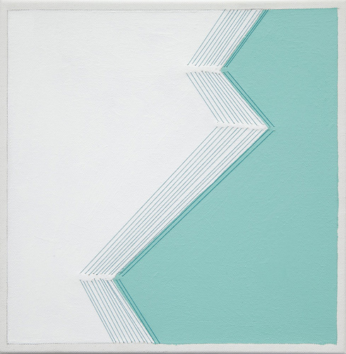 bend #7 , 2014 acrylic and thread on canvas 12 x 12""