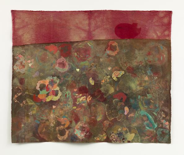 "ascent , 2013 fabrics, dyes, bleach prints, wax, acrylic, thread 45 x 55"""