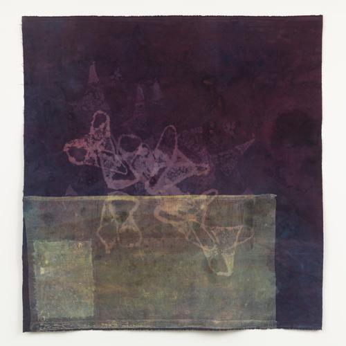 """bathers , 2013 cotton, dyes, bleach prints, acrylic 56 x 54"""""""