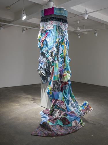 fall , 2014 fabrics, dyes, wax, acrylic, thread site specific