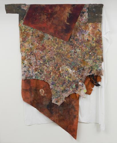 """cana , 2014 fabrics, leather, dyes, wax, acrylic, oil, thread 121 x 94"""""""