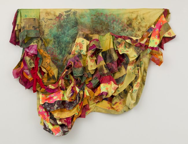 "fandango , 2014 fabrics, dyes, wax, thread  62 x 82"""