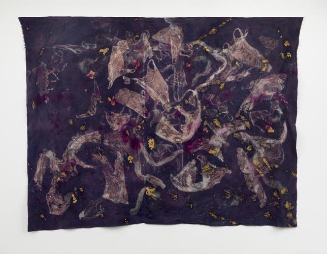 "market place ,2014 cotton, dyes, bleach prints, wax, acrylic 108 x 144"""