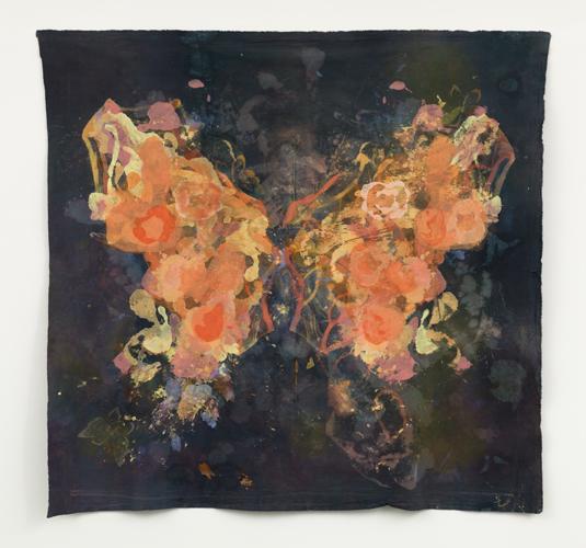 """monarch ,2014 cotton, dyes, bleach prints, wax, acrylic  56 x 57"""""""