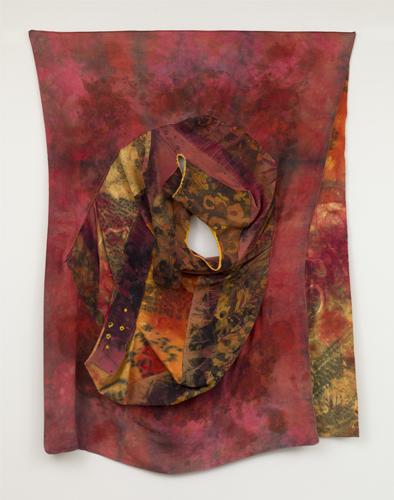 "portrait ,2014 fabrics, dyes, wax, thread  80 x 60"""