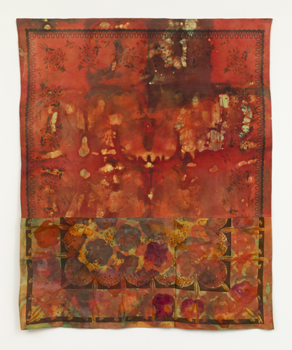 "red shift ,2013 fabrics, dyes, wax, acrylic, thread  55 x 45"""