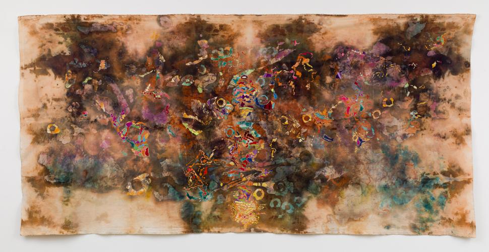 "cascade ,2014 cotton, dyes, wax, thread acrylic 56 x 120"""