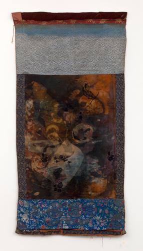 "tangka a ,2014 fabrics, leather, dyes, wax, thread  73 x 37"""