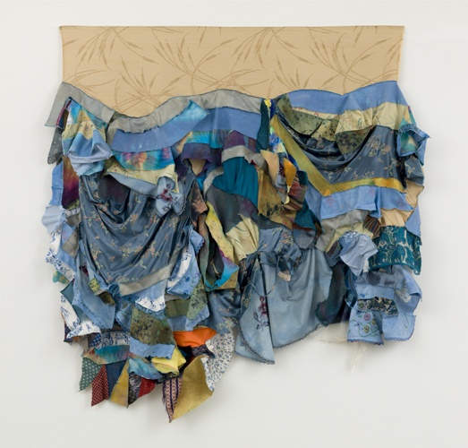 "swell ,2014 fabrics, dyes, wax, acrylic, thread 62 x 68"""