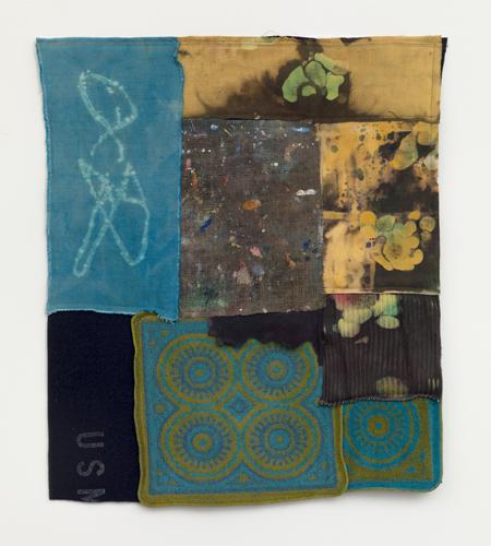 "usm ,2014 fabrics, dyes, wax, acrylic, thread 27 x 24"""