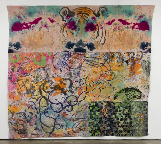 "tiger tracks ,2014 fabrics, dyes, acrylic, thread  123 x 144"""