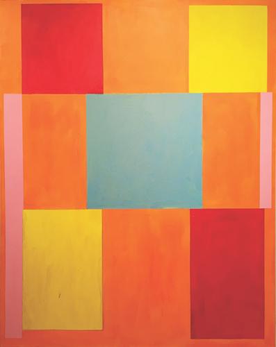 "spin step ,2016 acrylic on canvas 77 x 61"""